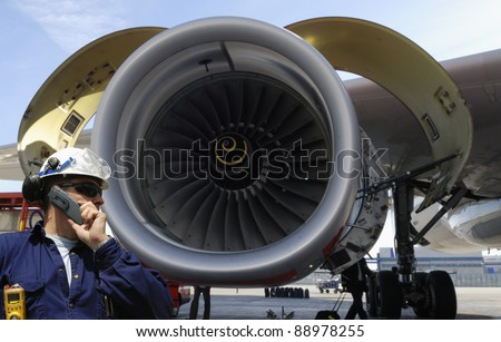 Mechanic Large Jet Engine Background Airport Stock Photo 86557276 ...