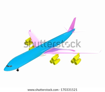 Airplane of CMYK concept - stock photo