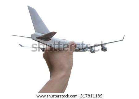 Airplane on hand white background - stock photo
