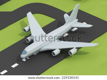 Airplane on runway - stock photo