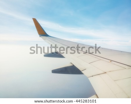 Airplane on the air and the sky