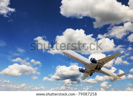 Airplane on the sky
