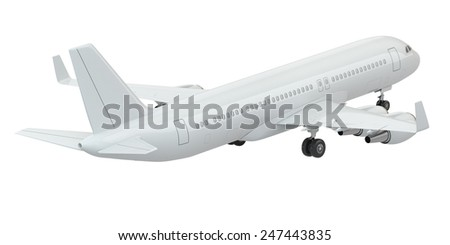Airplane on white isolated background. Three-dimensional image. - stock photo