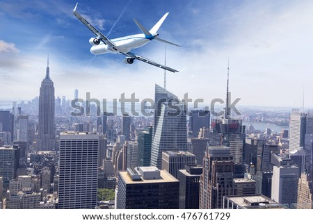 Airplane over Manhattan, NYC.