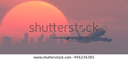 Airplane over the city at sunset. This is a 3d render illustration