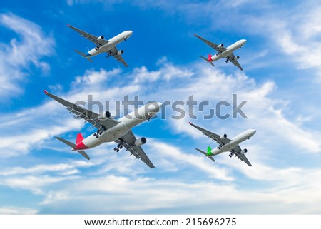 airplane overhead flying - stock photo