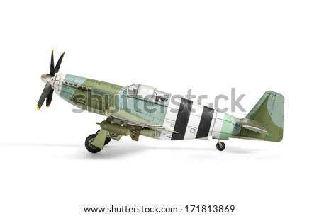 Airplane paper model isolated on white - stock photo