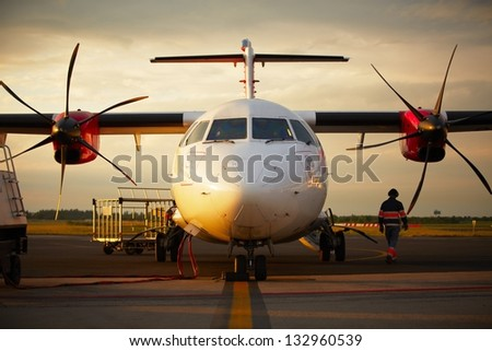 Airplane parked at the airport, Prague, Czech Republic - stock photo