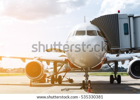 Airplane prepare for fight at the air port on daytime