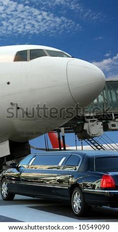 Airplane preparing for departure - stock photo