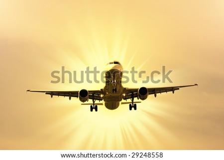 airplane preparing the landing - stock photo