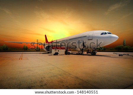 Airplane preparing to flight - stock photo
