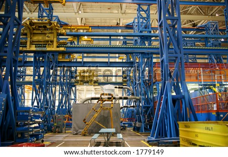 Airplane Production Factory Production Jig - stock photo