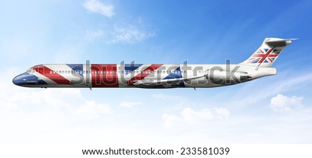 Airplane profile with fictional livery of the English flag - stock photo