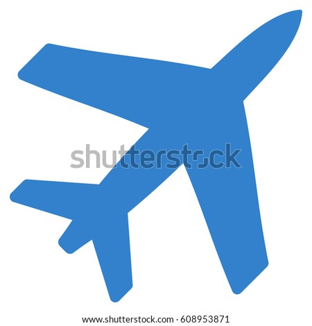 Airplane raster icon. Flat cobalt symbol. Pictogram is isolated on a white background. Designed for web and software interfaces.