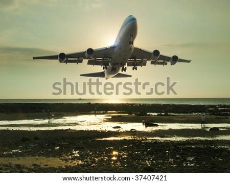 Airplane ready to landing - stock photo