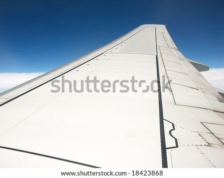 airplane's wing in the sky during flying