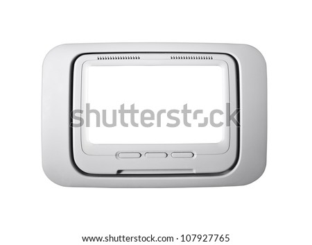 Airplane seat back television isolated with clipping path. - stock photo