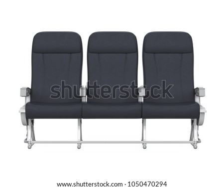 Airplane Seats Isolated Front View 3D Rendering