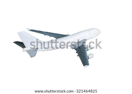 Airplane side white background - stock photo