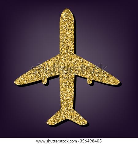 Airplane sign illustration. Golden icon - stock photo