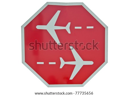 Airplane sign Isolated on white - stock photo