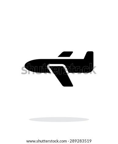 Airplane simple icon on white background. - stock photo