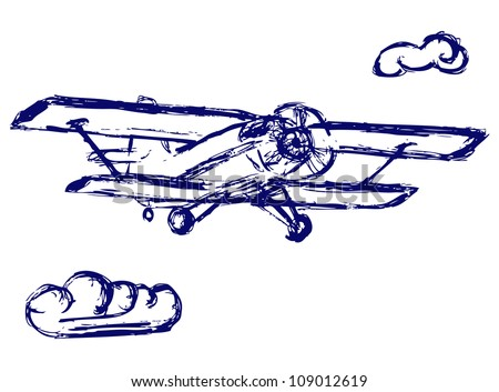 Airplane sketch. Raster - stock photo