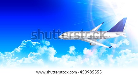 Airplane sky landscape background