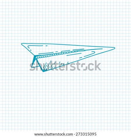 airplane symbol. Doodle style paper airplane icon. Hand drawn Sketch sign of airplane.  airplane - stock photo
