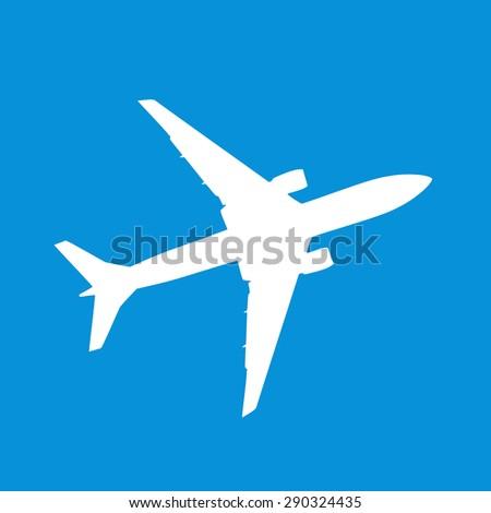 Airplane symbol on square blue background - stock photo