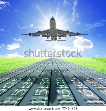 Airplane take off on flight schedule - stock photo