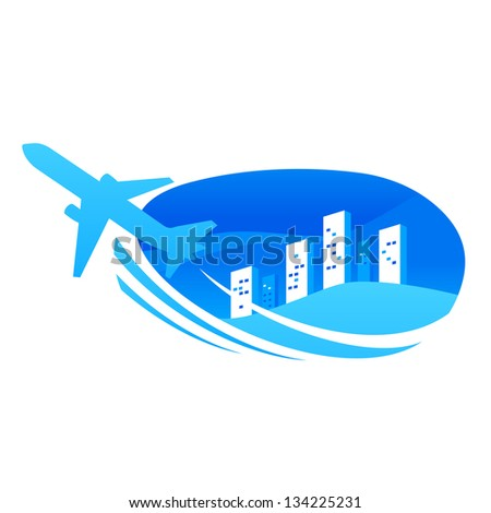 airplane takeoff city travel (Raster copy of vector) - stock photo