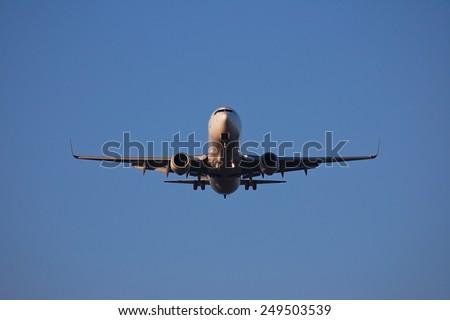Airplane takes off - stock photo