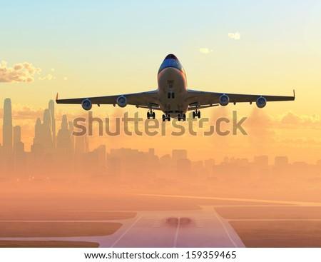 airplane taking off at sunrise  - stock photo