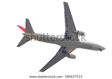 airplane taking off bottom view on white background - stock photo