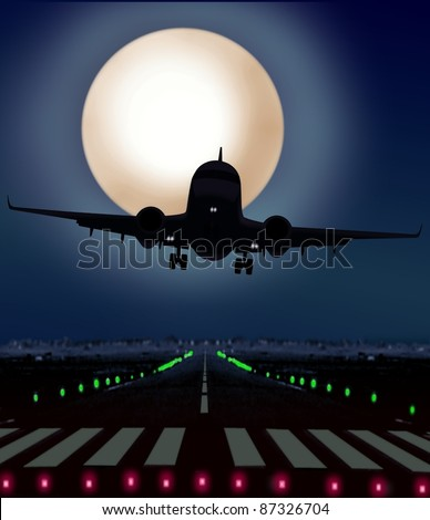 airplane taking off from runway at night - stock photo