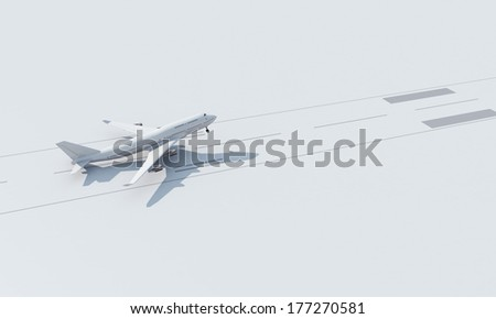 Airplane taking off from the white canvas - stock photo