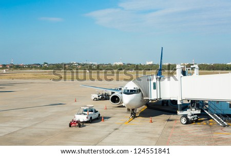 Airplane terminal in  airport - stock photo