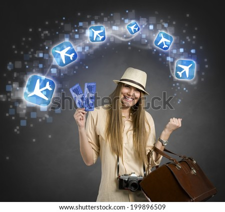 airplane ticket  ,Cheerful female tourist with planes icon,  - stock photo