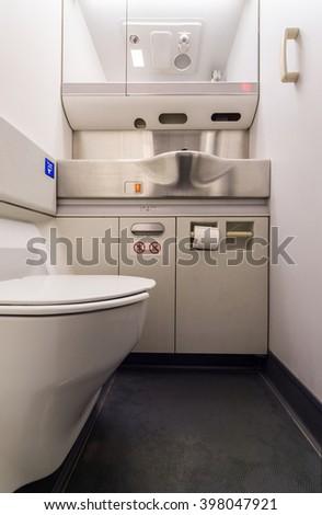 airplane toilet - stock photo