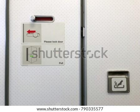 Airplane Toilet How Lock Door Slide Stock Photo (Edit Now ...
