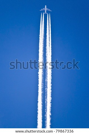 Airplane trails - stock photo