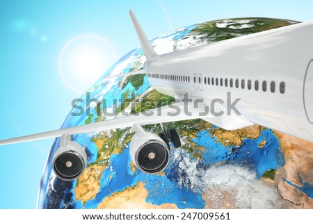 Airplane travel background. Airliner and earth. 3d Elements of this image furnished by NASA - stock photo