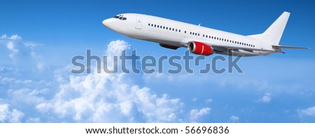 Airplane traveling - stock photo
