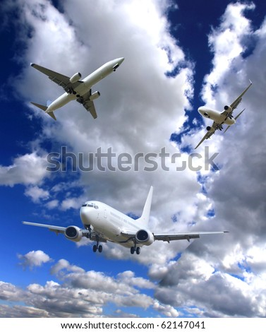 Airplane traveling - stock photo