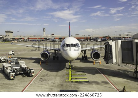 Airplane, view from airport terminal. Atlanta. - stock photo