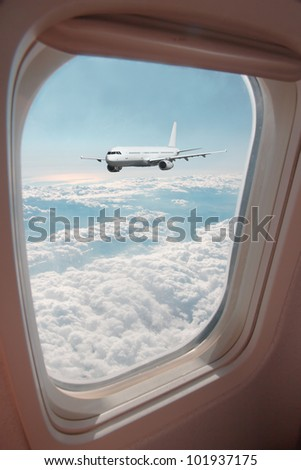 Airplane view from window - stock photo