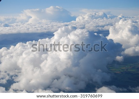 Airplane view over Africa - stock photo