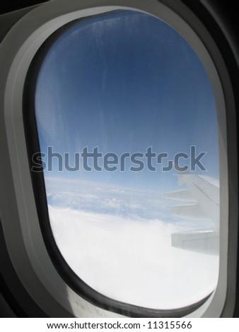 airplane window - stock photo